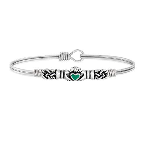 Luca + Danni Green Irish Claddagh Bangle Bracelet with Celtic Knot For Women - Silver Tone Large Size Made in USA