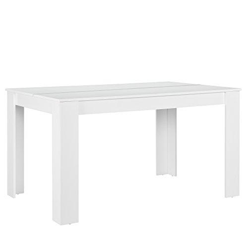 [en.casa] Esszimmertisch für 6 Stühle weiß 140x90cm Küche rechteckig Esszimmer Wohnzimmer