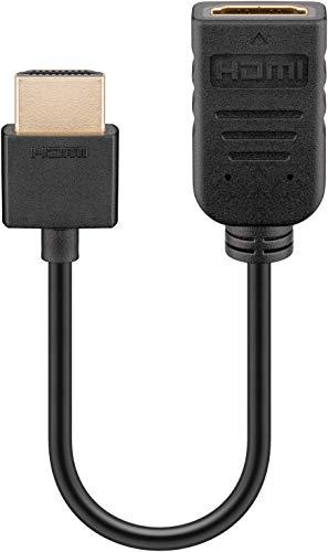 Goobay 49979 HDMI Flex Adapter, kurzes Verlängerungskabel Stecker > Buchse zur Verlängerung & Anschluß von FireTV Stick, Chromecast, Roku, 0,20m