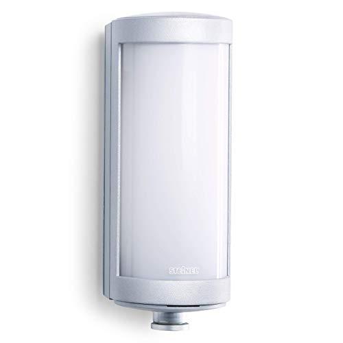Steinel Außenwandleuchte L 626 LED Wandleuchte mit 360° Bewegungsmelder, Softlichtstart, Dauerlicht, Aluminium, 9 W, Silber [Energieklasse A++]