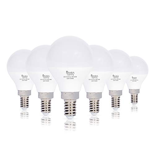 Simba Lighting LED Candelabra E12 Base G14 Small Globe 7 Watt 60W Replacement Light Bulb (6 Pack) for Ceiling Fan, Chandelier, Vanity, Round A15 Frosted White Cover, Non-Dimmable, 5000K Daylight