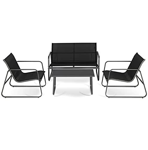 Sekey Gartenmöbel Set Sitzgruppe 4-teilig, Gartenlounge Set mit Sessel Sofa & Tisch für Terrasse Balkon Innen- und Außenbereich, Schwarz