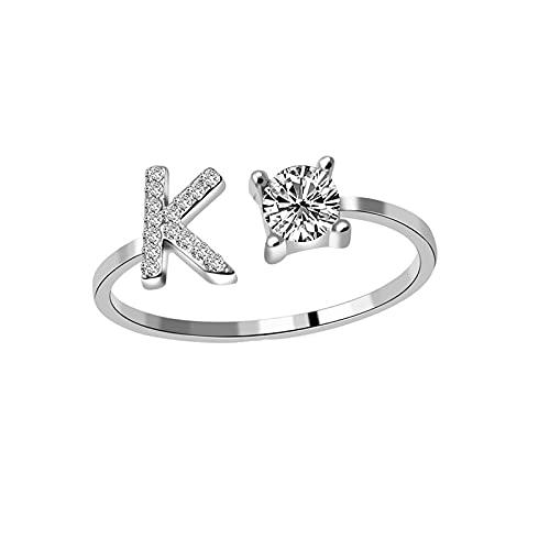 Damen Brief Ring Paar Freund Ring, A-Z MäDchen Buchstabe Ring Personalisierte Ring Silber Offener Verstellbare Initiale Alphabet A-Z Ringe Geschenke Weihnachten Valentinstag Geburtstagsgeschenk