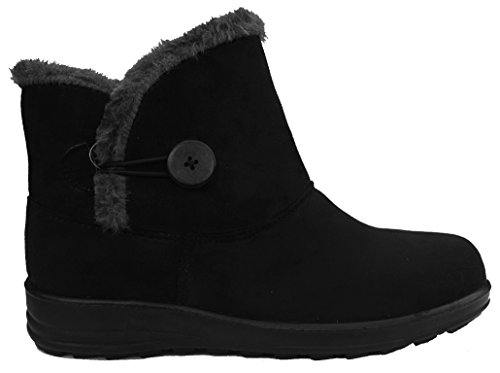Cushion Walk Womens Slip-on Comfort Fit Winter Boots in Black - Carly (4 UK)