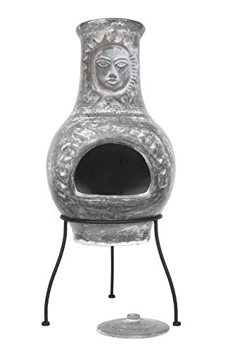 Sparkle Stone Outdoor Clay Chiminea Fire Pit Overall Size 33 inch Tall - Sun Face Patio Fire Handcrafted Chimenea, Wood-Burning Backyard Fireplace Stove with Cover Lid, Rustic Ceramic Chimney