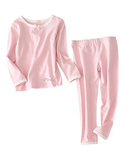 Mädchen Jungen Schlafanzug Langarm Zweiteiliger Kinder Warm Nachtwäsche Pyjama Pink 140