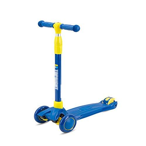 YCXTY Scooter silencioso Ligero para niños,Tres Rondas con Flash,Altura Ajustable,Scooter para niños y niñas de 3~7 años (Color : B)