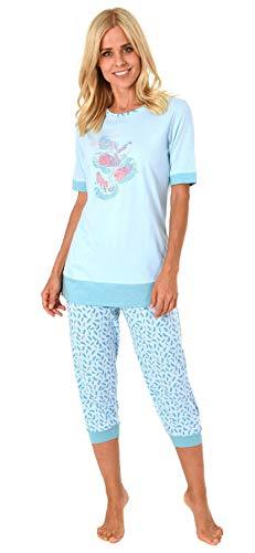 Damen Capri Pyjama Schlafanzug Kurzarm mit 3/4-langer Caprihose, Federn als Motiv 191 204 90 212, Farbe:hellblau, Größe2:40/42