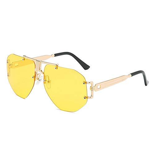 Gafas de sol sin montura para mujer y hombre, color negro, montura de metal, color grandien (lentes de color: C2 dorado y amarillo)