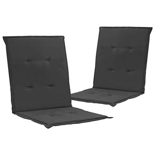 vidaXL 2X Gartenstuhl Auflage für Niedriglehner Kissen Sitzkissen Stuhlkissen Polster Stuhlauflage Sitzauflagen Sitzpolster Anthrazit 100x50x3cm
