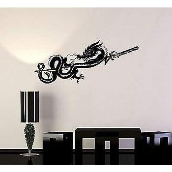 076ig Vinyl Decal Chinese Dragon Samurai Sword Warrior Wall Stickers Mural