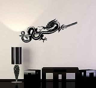 V-studios Vinyl Decal Chinese Dragon Samurai Sword Warrior Wall Stickers Mural 076ig