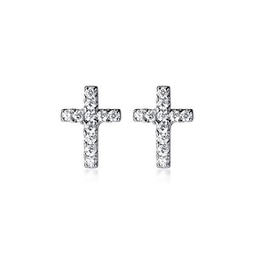 TJZY S925 Sterling Silver Sweet Cross Earring Diamond Jewelry for Men Unisex Gift/Silver