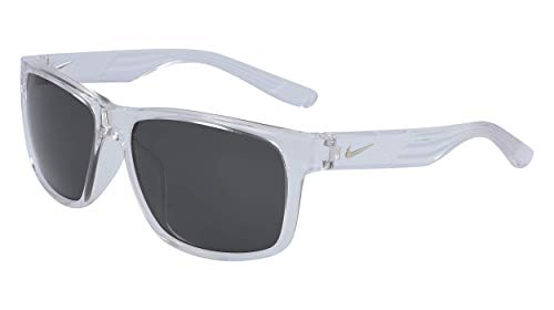 Nike Cruiser Square Sunglasses, Crystal Clear/Grey, 59 mm
