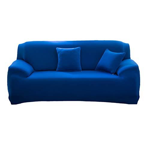 Mansardo 1 Pieza Extensible Cubre Sofá para Salón,Elástica Tela Poliéster Protector para Sofás Moderno Universal Cubre Sofá,Funda para Sofá para Mascota Niños-Azul 2 plazas