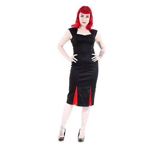 H&R London 6884 - Abito da donna, colore: nero/rosso nero-rosso XS
