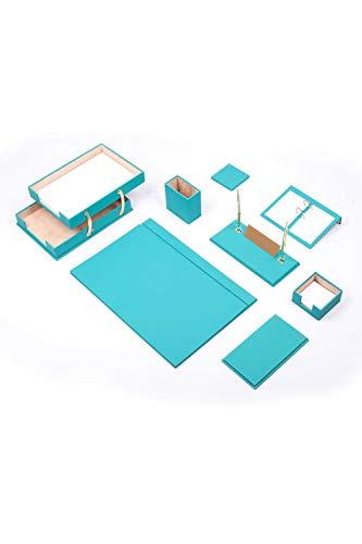 Calme-D Lux - Juego de escritorio (10 piezas, con doble bandeja para documentos, 49 cm x 34 cm, piel sintética, con placa para nombre personalizado, en 10 colores a elegir), color turquesa