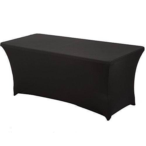 HAORUI Spandex Stretch Lycra Table de 183cm Couverture de Tissu rectangulaire Table à chevalets Banquet de Mariage(183×76×76cm Noir)