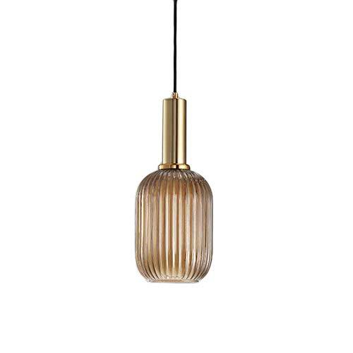 HJXDtech - Suspension Luminaire Industrielle Vintage en Verre Nervuré,Plafonnier avec fini en laiton poli Lustre,Suspension Lampe de Salle à Manger Cuisine Salon Chambre (Ambré, 13CM)