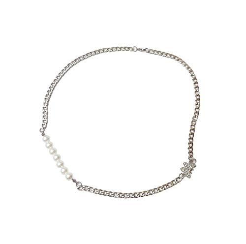 QAZQAZ Schmetterlingshalskette Frauen Künstliche Perlenketten Kette Damen Anhänger Schmuck Silber Farbe Titan Stahlhalsbänder