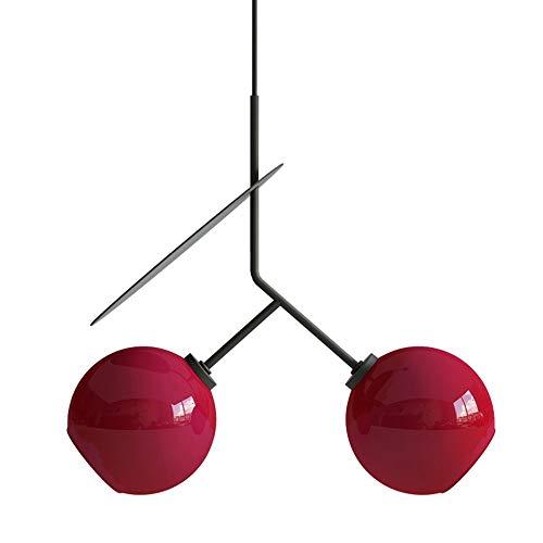 Asncnxdore Cereza Lámpara De Cristal De La Personalidad Creativa Nórdico Moderno Minimalista Dormitorio De Lujo Den Sala Comedor Barra De La Lámpara LED De Luz Caliente 45cm (Color : Red)