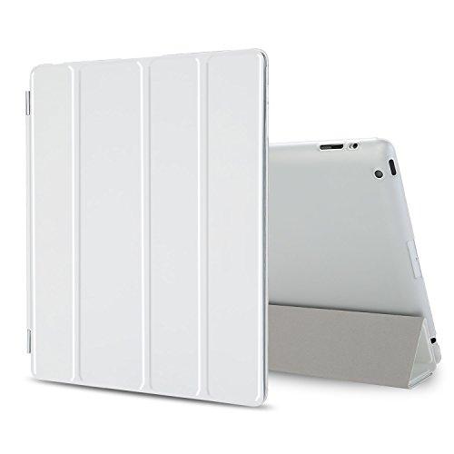 Besdata iPad 2 3 4 Hülle Smart Cover Schutz Hülle Leder Tasche Etui für Apple iPad Ständer Sleep Wake mit Bildschirmschutzfolie Reinigungstuch Stift Weiß