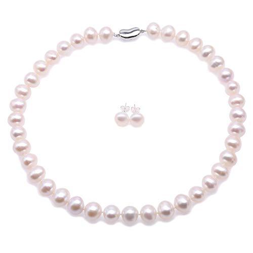 JYX - Parure composta da collana e orecchini con perle coltivate d'acqua dolce AAA da 8 mm, colore: Rosa