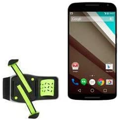 Holster for Nexus 6 (Holster by BoxWave) - FlexSport Armband, Adjustable Armband for Workout and Running for Nexus 6, Google Nexus 6 - Stark Green