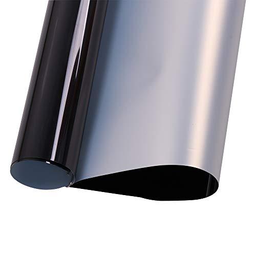 "HOHOFILM 20""x12"" Metallic Black Heat Transfer Vinyl Cutting Film Iron on Paper Mirror Effect Adhesive Sheet DIY T-Shirt Fabric"