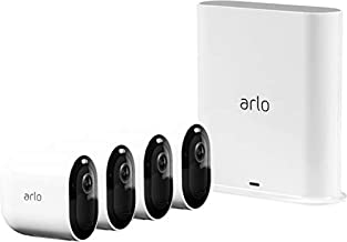 Arlo Pro 3 - Wire-Free Security 4 Camera System   2K with HDR, Indoor/Outdoor, Color Night Vision, Spotlight, 160° View, 2-Way Audio, Siren   Compatible with Alexa   (VMS4440P)