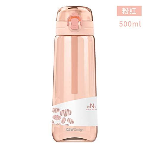 ASR - Botella de agua de plástico para niños, escuela, bebé, bicicleta, gimnasio, antigoteo, 500 ml (B)