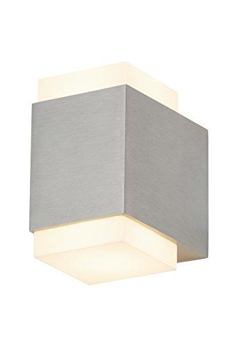 Briloner Leuchten LED Außenlampe, Wandlampe Außenbereich, Außenleuchte Edelstahl Optik, moderne Gartenlampe, warmweißes Licht, IP44, Höhe: 11 cm