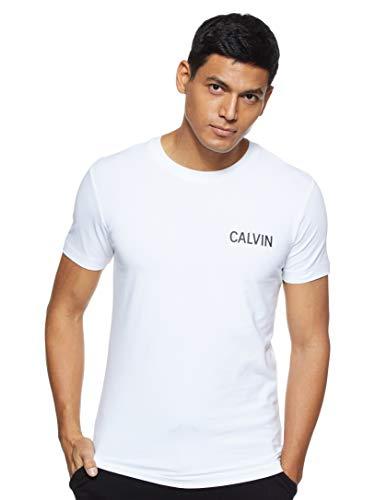 Calvin Klein Jeans Herren Calvin Slim Stretch T-Shirt Hemd, Helles Weiß/Ck Schwarz, XL