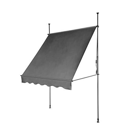 SVITA Klemmmarkise Balkonmarkise Sonnenschutz Markise Handkurbel ohne Bohren (300 x 120 cm, Dunkelgrau)
