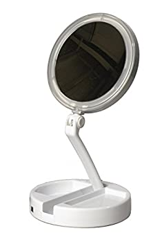 Floxite 10x plus 1x Lighted Folding Vanity & Travel Mirror