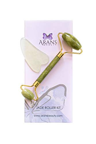 Authentic Jade Roller and Gua Sha Facial Tool Set - IMPROVED DESIGN FOR 2020 - Skin Roller and Gua Sha Scraping Tool - Smoothing