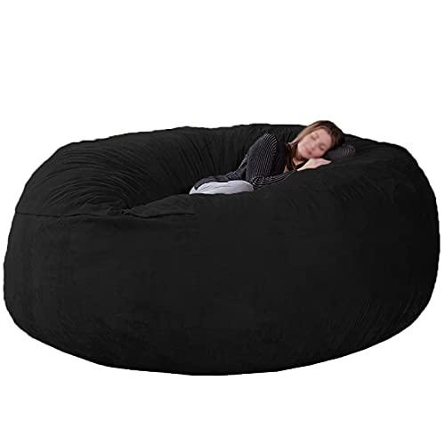 JMBF Bean Bag Sillas para Adultos Interior Durable Cómodo Bean Bag Silla Gamuza Bean Bag Sofás Sofá de Piel Sintética Sofá de Sala de Estar Sofá Cama para Adultos, (sin Relleno),Black-6ft
