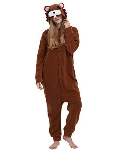 Jumpsuit Onesie Tier Karton Fasching Halloween Kostüm Sleepsuit Cosplay Overall Pyjama Schlafanzug Erwachsene Unisex Lounge, Dunkelbraun Bär, Erwachsene Größe L - für Höhe 168-177CM