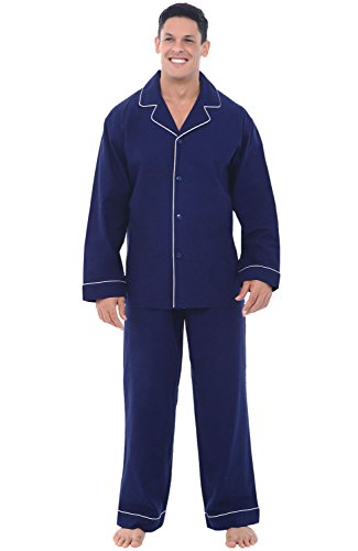 Alexander Del Rossa Men's Lightweight Flannel Pajamas, Long Cotton Pj Set, Large Midnight Blue (A0544MBLLG)