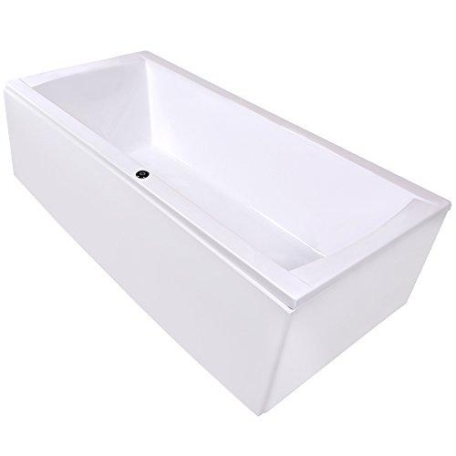AQUADE Badewanne Komplett-Set inkl. Untergestell, Ab-Überlauf und Schürzen-Set 200x90 200 x 90 cm Modell: Bremen + Ab-Überlauf mit Zulauf und Mischer und Brause + LED