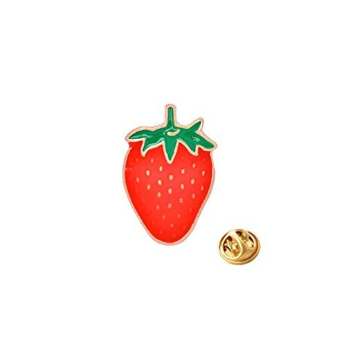 #N/A Xinmuye Schal Schnalle Brosche Legierung Emaille Druck Kreative Frucht für Jacken Rucksäcke Kleidung Pin,Erdbeere C1097-2