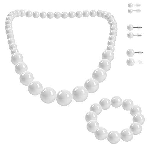SoulCats Set di Gioielli, Collana di Perle, Bracciale di Perle e 3 Paia di Orecchini, Colore: Bianco