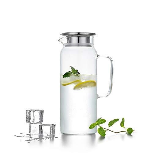 HwaGui Caraffa in Vetro con Coperchio in Acciaio Inossidabile, brocca d'Acqua per tè Freddo e Succo di Frutta 1,2L / 42oz