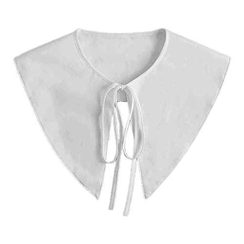 YOURPAI Châle rétro pour femme avec col en faux triangle pointu et lacets Blanc