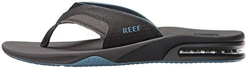 Reef Mens Fanning Fashion casual Flip-Flop, Grey/Light Blue, 12 UK