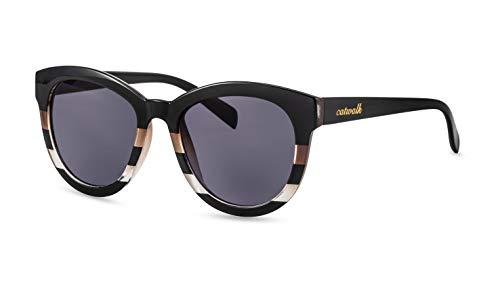 CATWALK Damen Sonnenbrille/Stilvolle Cateye Sonnenbrille im Retro Design/Schwarz-gestreift F2501201