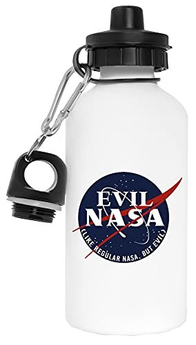 Evil Nasa Botella de Agua Blanco Aluminio Reutilizable Water Bottle White Aluminium Reusable