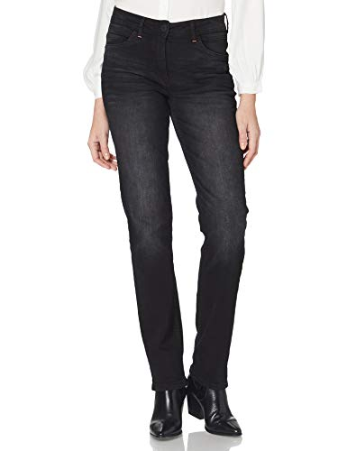 Cecil Damen 373799 Style Toronto Slim Fit High Waist Straight Leg Jeans, Black Used wash, W36/L32