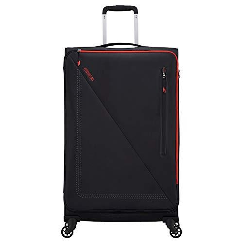American Tourister Lite Volt - Maleta con 4 ruedas (79/29 cm), color negro y rojo