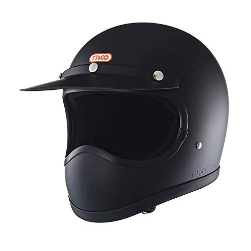 TT&CO. トゥーカッター スタンダード マットブラック フルフェイスヘルメット ヴィンテージ フルフェイス ビンテージ ヘルメット SG/PSC/DOT 乗車用ヘルメット おしゃれ ハーレー モトクロス